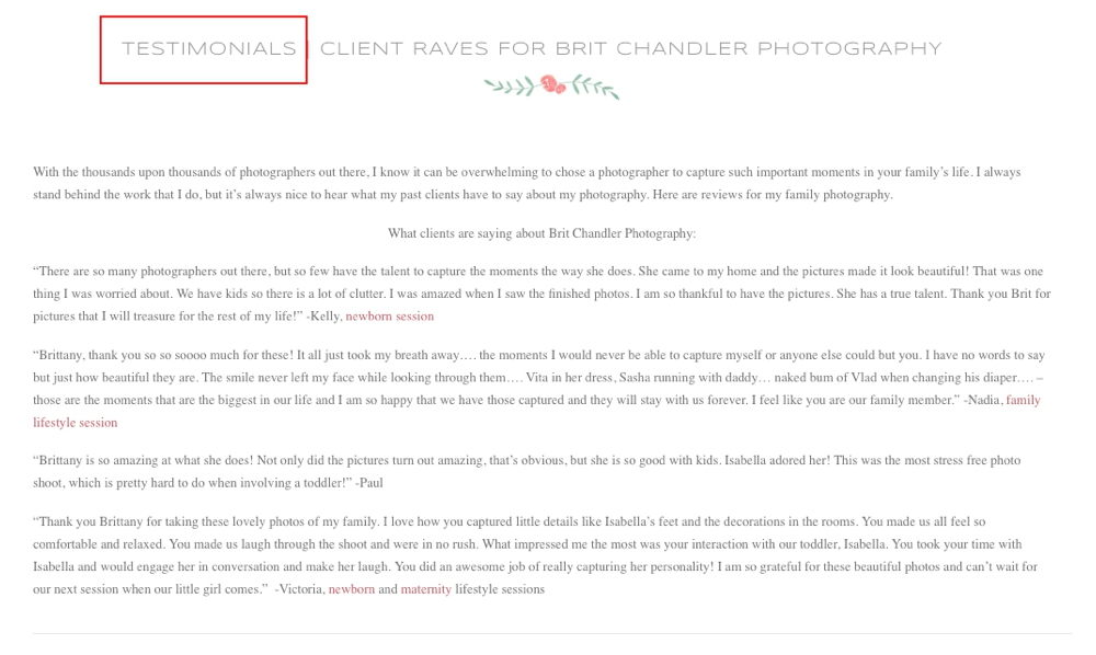 10 website mistakes most photographers are making no testimonials page
