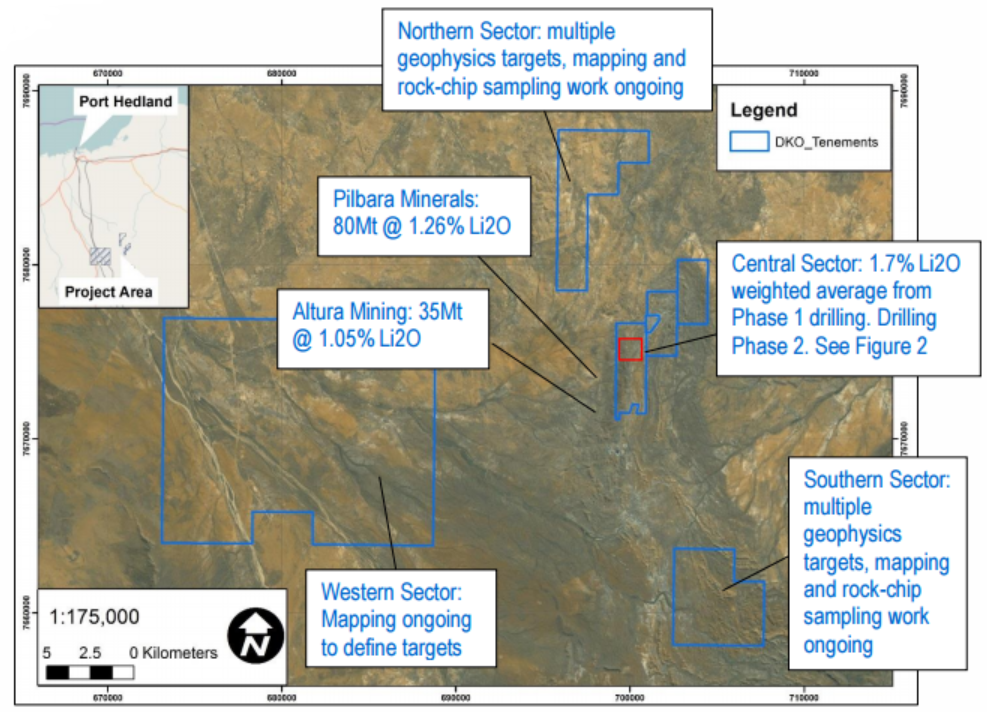 Figure 1: Overview of Dakota's Lynas Find Lithium Project, showing key target sectors