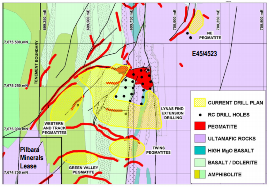 Figure 2: Drill target areas for Phase 2 drilling (yellow) in the Lynas Find Central Sector, relative to existing Phase 1 drilling (black dots)