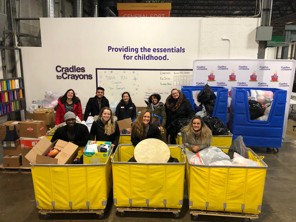 On behalf of QuanTâm, team members Dovile, Laura, Sam, Allan, Gladstone, Karolina, Brady and Tyler visited Cradles to Crayons to see that all donations arrived safely on Dec. 3, 2018.