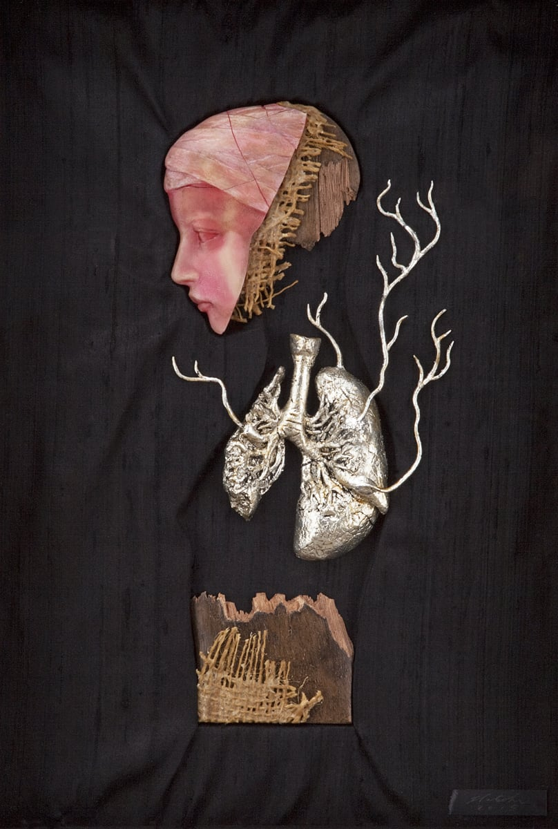 "Effigy Fragment I . 2013-2015. 10"" h x 14.5"" w. Beeswax, Carnauba wax, Jute, Walnut, Resin, Silver Leaf, Oil, Silk."