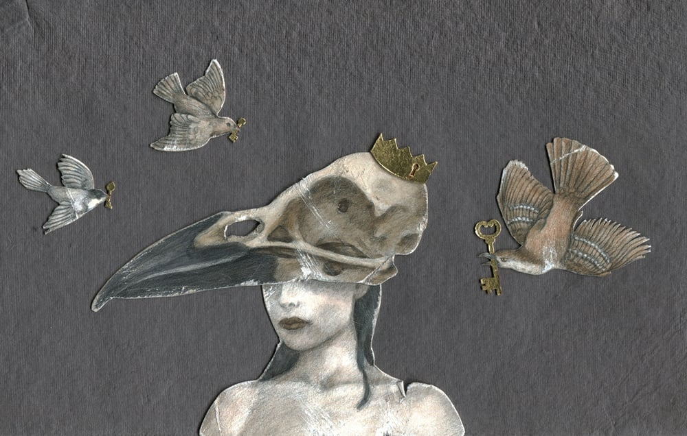 "Exquisite Corpse Head #2, Head . 2012. 10.5"" x 7"". Colored Pencil, Acrylic, Gold leaf, Bristol paper."