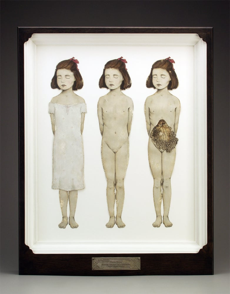 "Figure Three.- Ternary Degrees of a Girlchild, Aged Eight Years.  1997-1998. 28"" h x 22.5"" w x 3.5"" d. Lithography, Acrylic, Stained oak, Fabric, Magnesium, Glass."