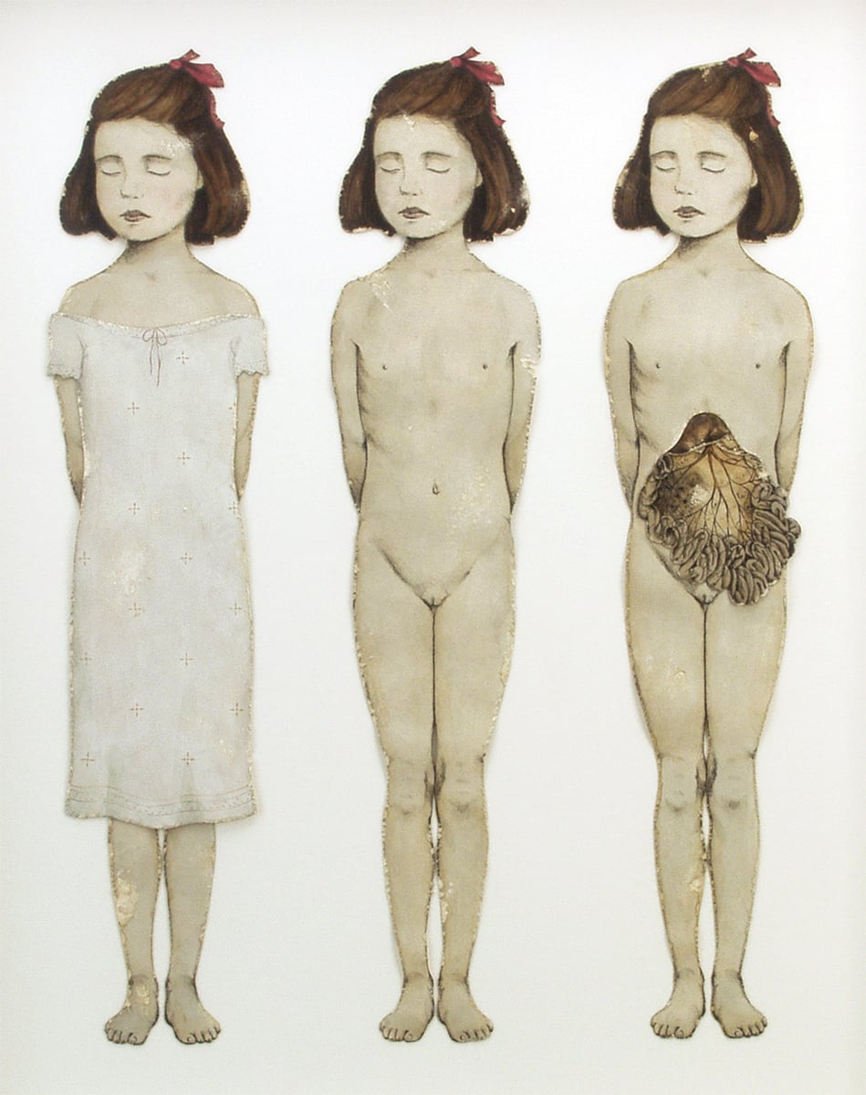"Figure Three.- Ternary Degrees of a Girlchild, Aged Eight Years, detail.  1997-1998. 28"" h x 22.5"" w x 3.5"" d. Lithography, Acrylic, Stained oak, Fabric, Magnesium, Glass."