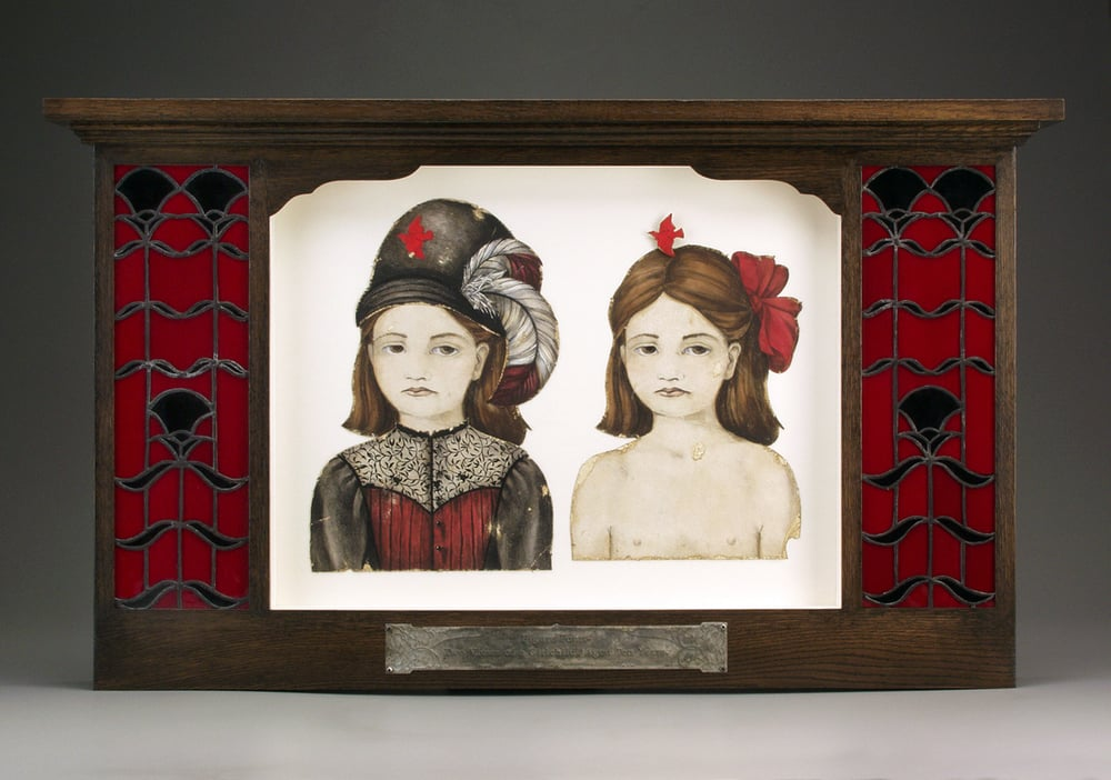 "Figure Four.- Two Views of a Girlchild, Aged Ten Years.  1997-1998. 22"" h x 37"" w x 4.5"" d. Lithography, Acrylic, Stained oak, Stained glass, Fabric, Magnesium, Glass."