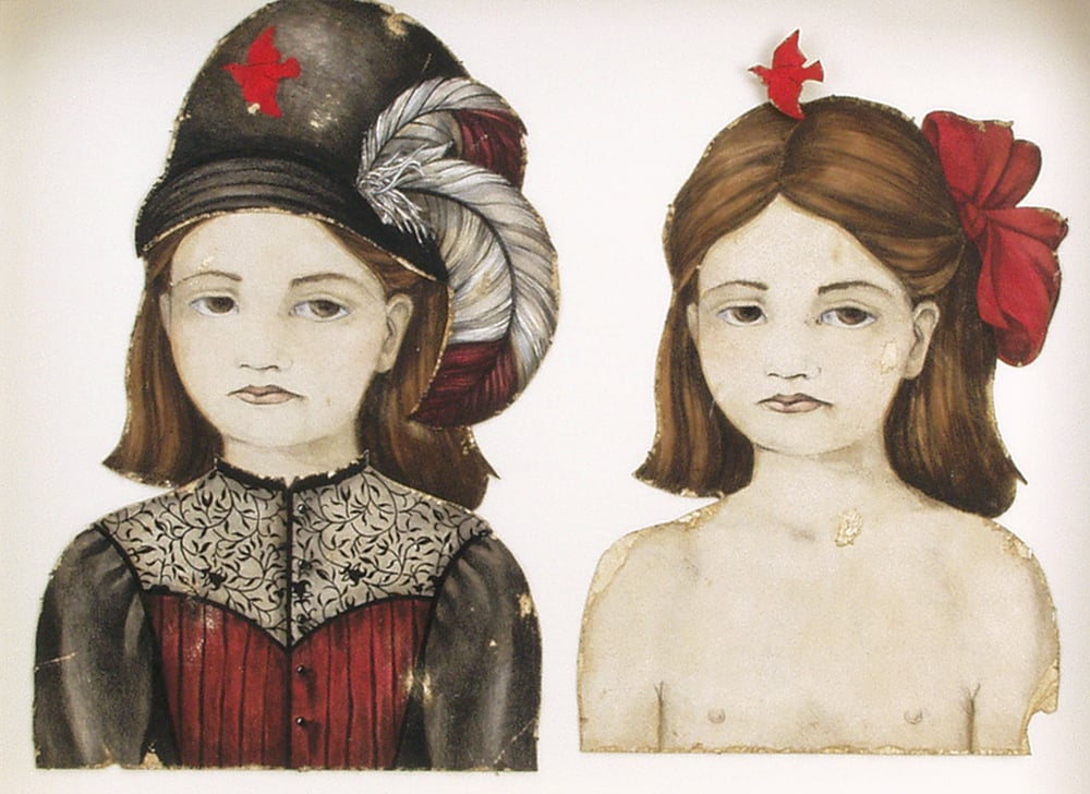 "Figure Four.- Two Views of a Girlchild, Aged Ten Years, detail.  1997-1998. 22"" h x 37"" w x 4.5"" d. Lithography, Acrylic, Stained oak, Stained glass, Fabric, Magnesium, Glass."