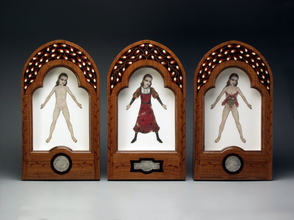 "Figure Eight.- A Girlchild. (Triptych)  1995-2000. Three pieces, each 23.5"" h x 13"" w x 2"" d. Letterpress, Acrylic, Human bone, Marquetry, Walnut, Fabric, Magnesium, Glass."
