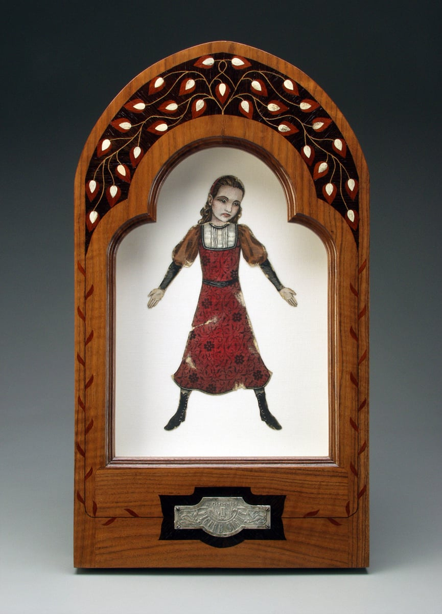"Figure Eight.- A Girlchild, Middle Shadowbox . 1995-2000. 23.5"" h x 13"" w x 2"" d. Letterpress, Acrylic, Human bone, Marquetry, Walnut, Fabric, Magnesium, Glass."