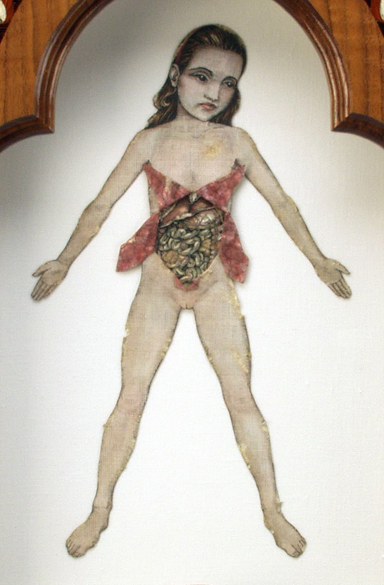 "Figure Eight.- A Girlchild, Right Shadowbox, detail . 1995-2000. 23.5"" h x 13"" w x 2"" d. Letterpress, Acrylic, Human bone, Marquetry, Walnut, Fabric, Magnesium, Glass."