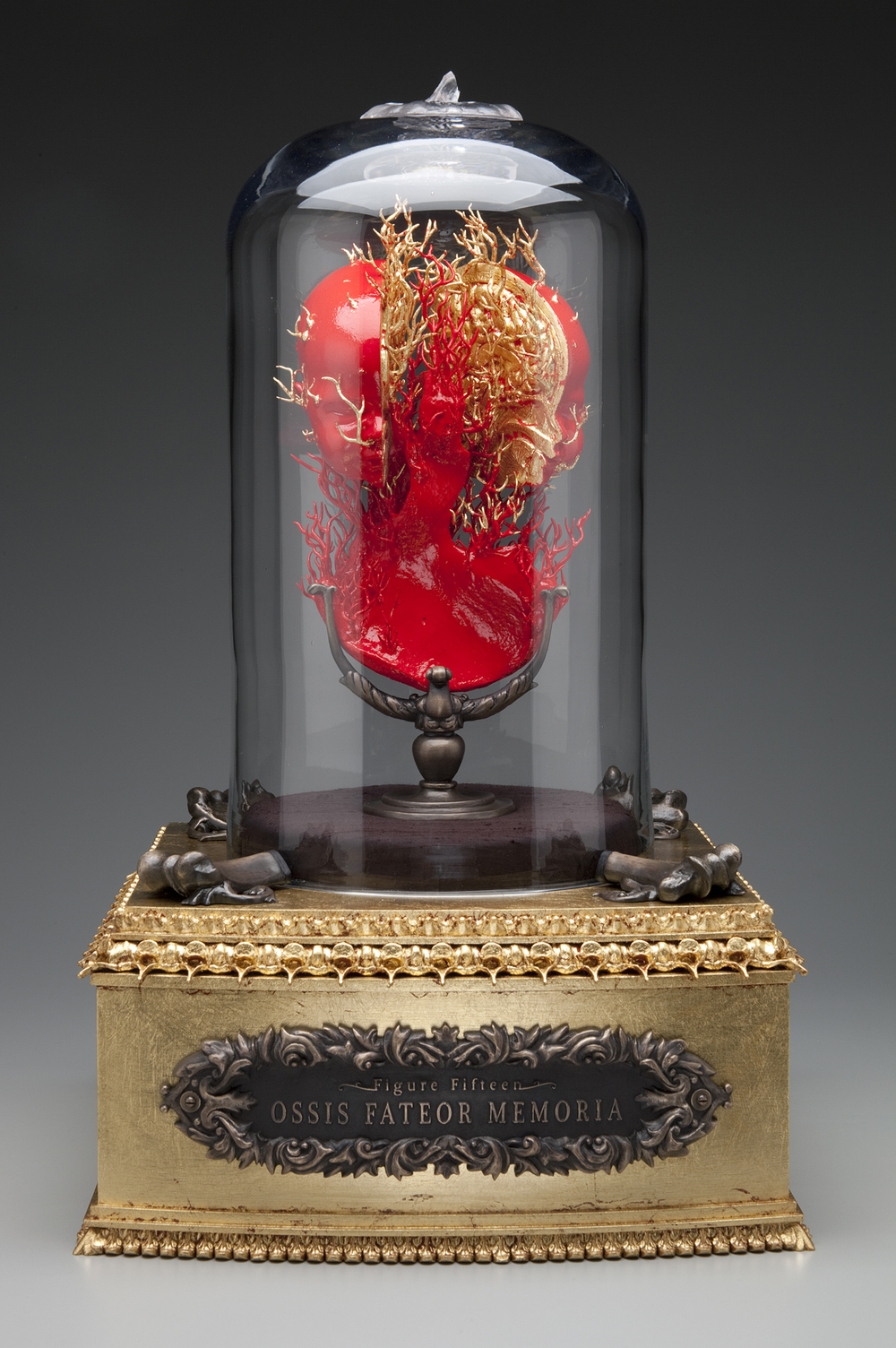 "Figure Fifteen.- Ossis Fateor Memoria (Bone Confesses Memory).  2013-2015. 24"" h x 15"" w x 15"" d. Human bone, Bronze, Resin, Cast glass, Bell jar, Gold leaf, Acrylic, Silk, Hardware."