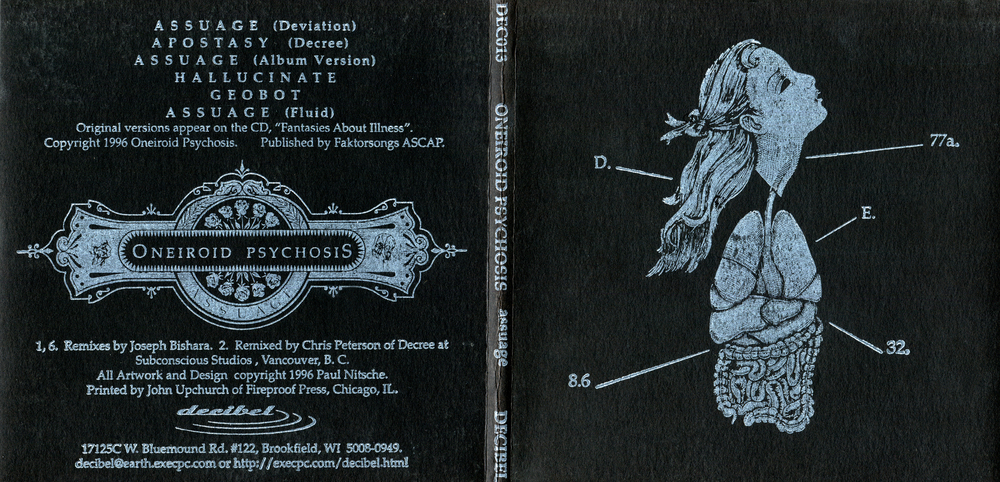Oneiroid Psychosis,  Assuage.  Front and back covers.  1996. Pen and ink, Scratch board. Letterpress printed. Released by Decibel Records.