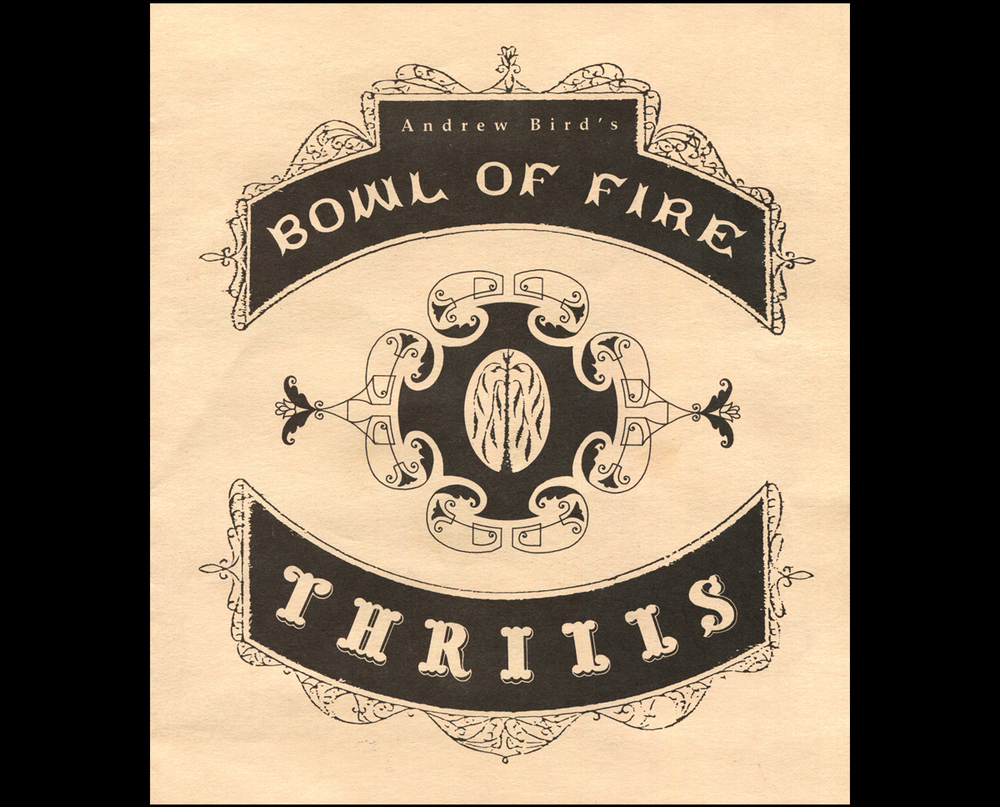 Andrew Bird's Bowl of Fire. Program for Mercury Theater's production of  Thrills , cover.  1998. Pen and ink. Chicago, Illinois.