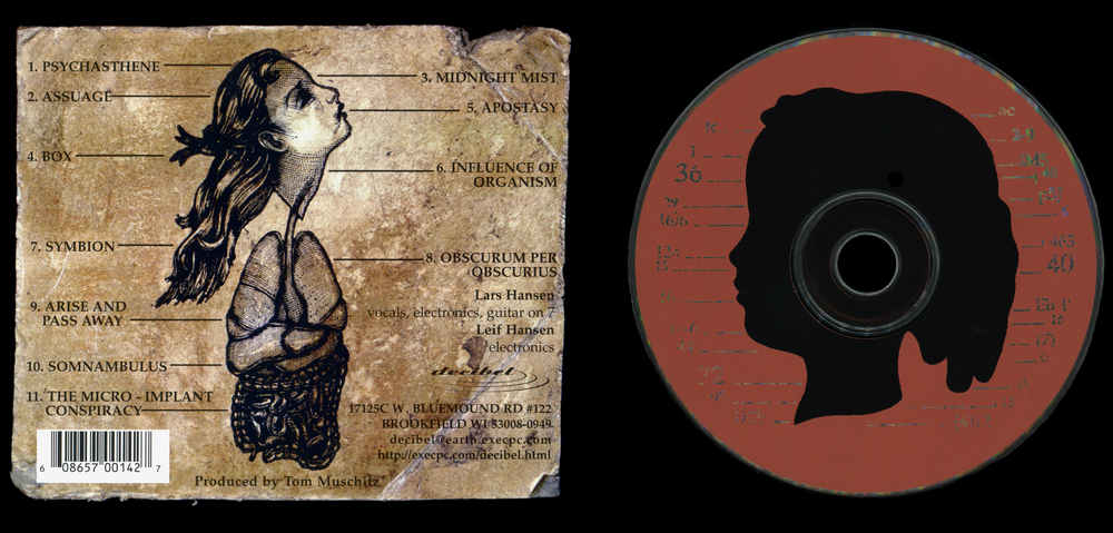 Oneiroid Psychosis,  Fantasies About Illness.  CD tray, back, and disc design.  1996. Pen and ink, Scratch board, Acrylic. Letterpress printed on board. Released by Decibel Records.