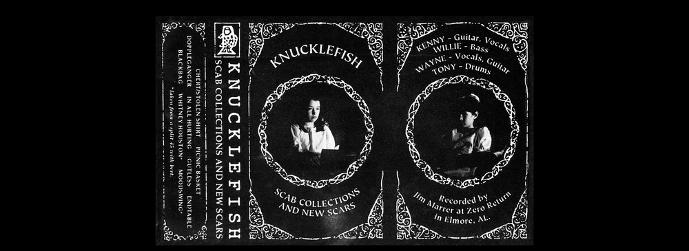 Knucklefish,  Scab Collections and New Scars .   CS insert, front.  1994. Pen and ink, Photography. Released by Knucklefish.