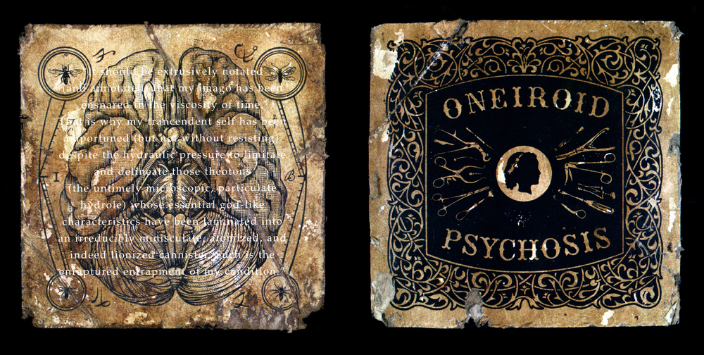 Oneiroid Psychosis,  Fantasies About Illness.  Back and front booklet covers.  1996. Pen and ink, Scratch board, Acrylic. Letterpress printed on board. Released by Decibel Records.