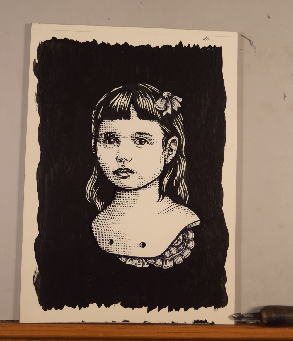 Girlchild number one. Pen and ink, Scratch board.