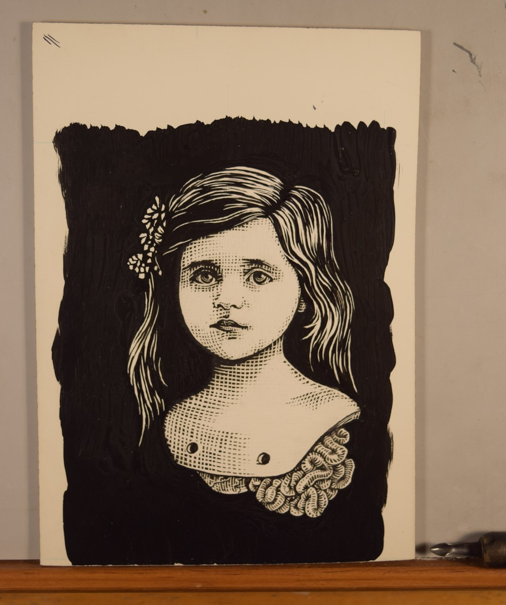 Girlchild number two. Pen and ink, Scratch board.