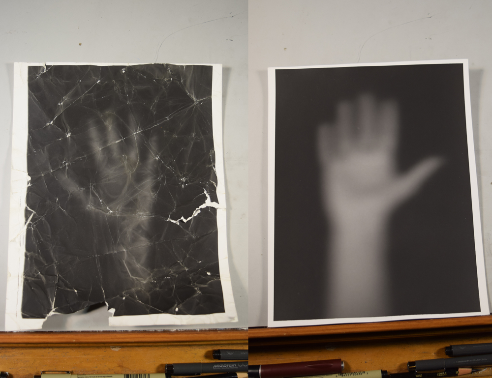 Alternate versions of Anna's hands. The first photo is an experiment with developing a hand on a crumpled piece of photo paper.