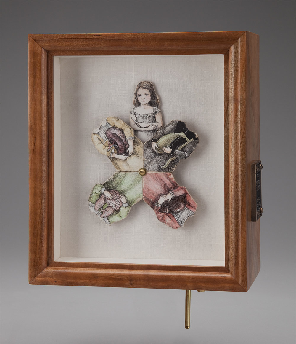 "The Four Humors. 2016-2017. 8.75""h x 7.5""w x 4""d. Lithography, Acrylic, Mahogany, Brass, Bronze, Linen, Self-fabricated mechanisms, Hardware."