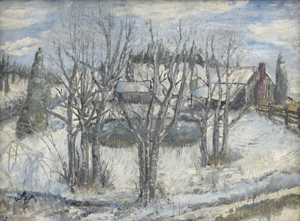 The full winter farm painting by William Gay.