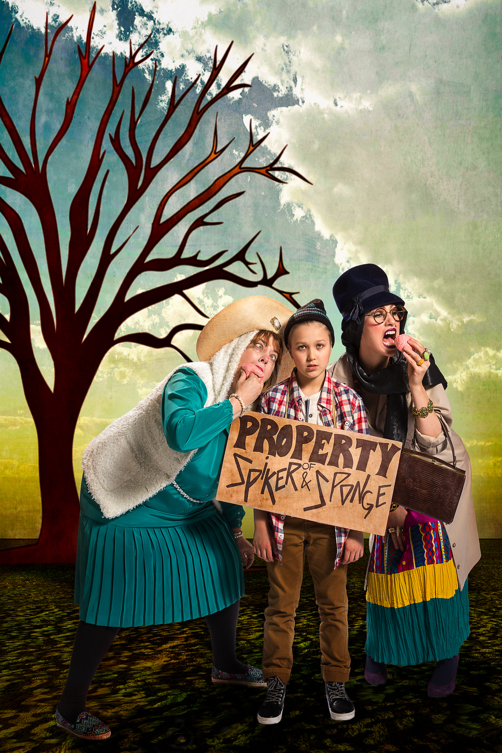 Victoria Blake as Sponge, Aida Valentine as James, and Stephanie Leppert as Spiker.