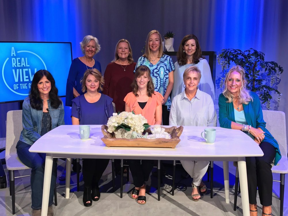 """A Real View of the Grace Life"" panel : (Front row) Tricia Gunn, Heather Downey, Brooke Premo, Von Jenkins, Suzanne Shinn, (Back row) Darlene Hacker, Debbie Nelson, Pate Thomas, Marianne Jenkins  December 3, 5:00pm. Real & Rosemary,    1922 29th Ave, Homewood, AL 35209"