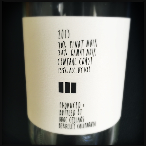 Broc Cellars Sogi 2013 back label
