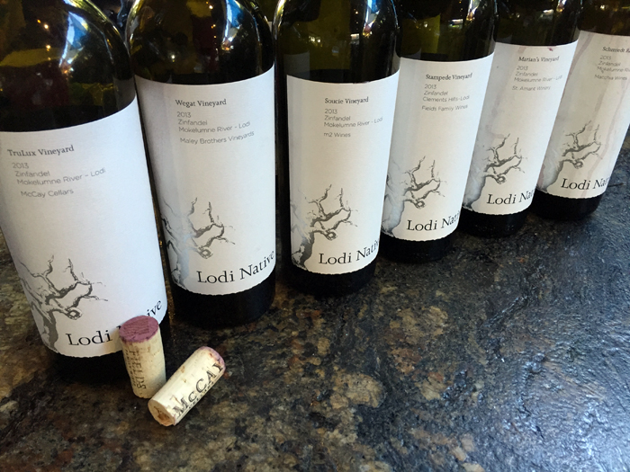 Lodi Native Project with Macchia, McCay, M2, Maley Brothers, St. Amant wineries. 100% zinfandel, stripped down.