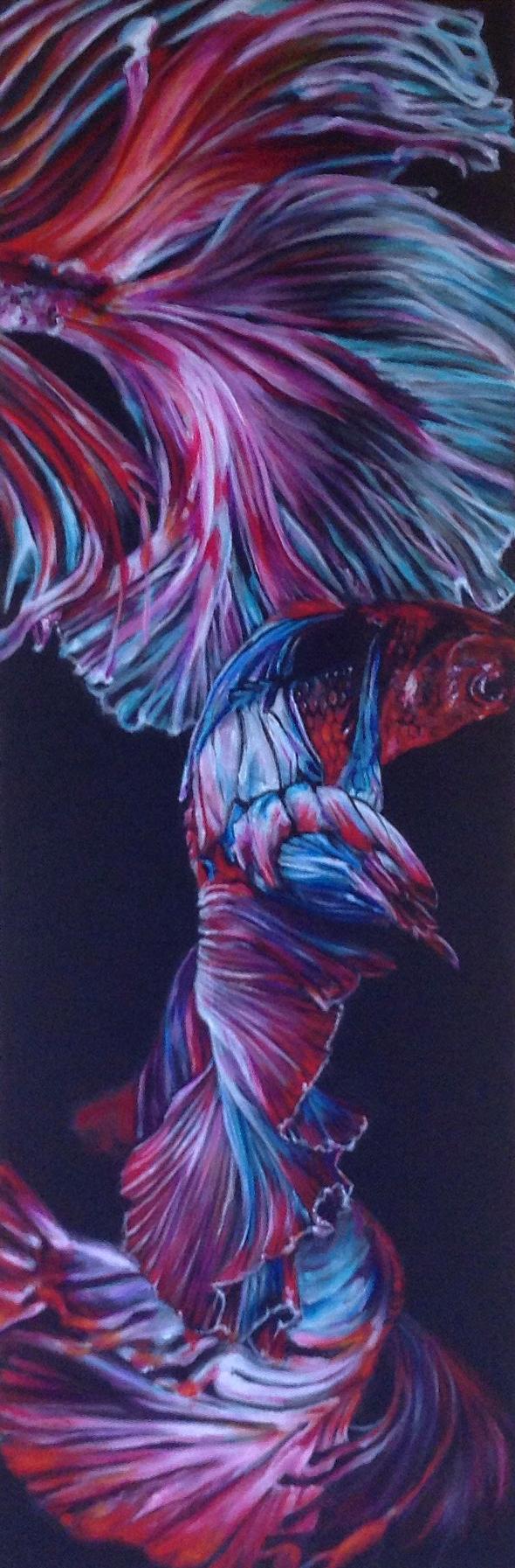 """Flamenco Fins Acrylic on canvas, 10"""" x 30"""""""