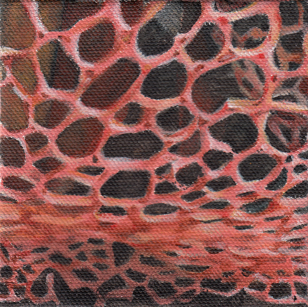 "Blusher  - SOLD Acrylic on canvas, 4"" x 4"""
