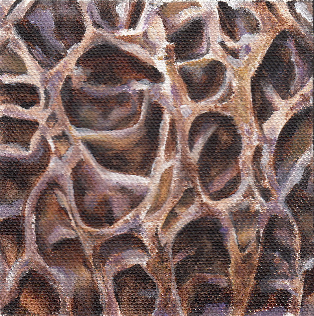 "Catacombs  - SOLD Acrylic on canvas, 4"" x 4"""