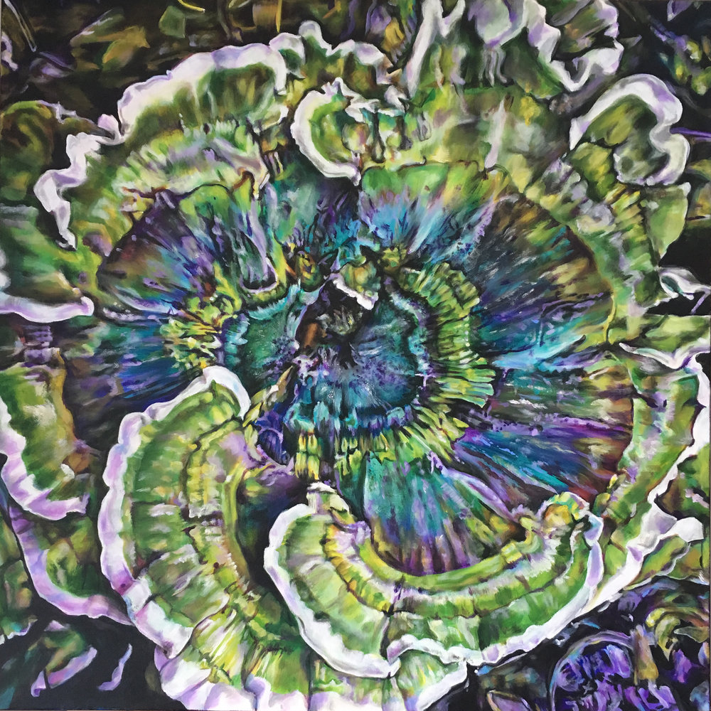 """Whirled About  Acrylic on canvas, 30"""" x 30"""""""
