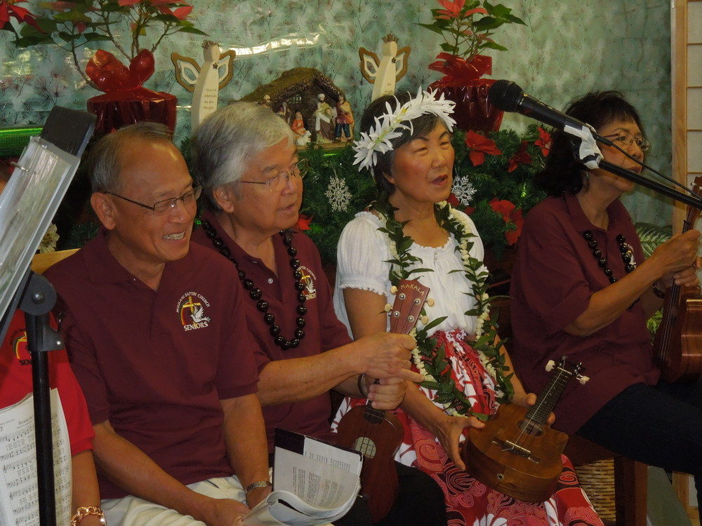 Senior Adults Playing Ukulele for Christmas at Mililani Baptist Church