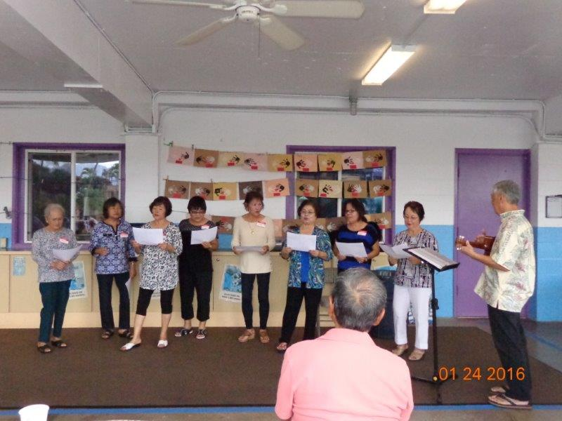 Adult Choir Singing on Lanai at Mililani Baptist Preschool