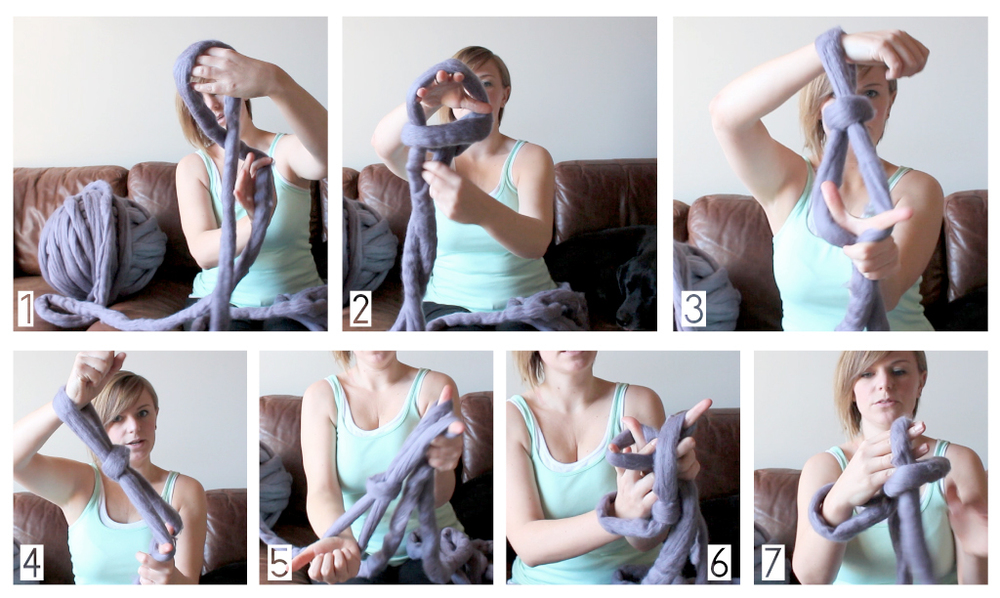 """1. Make a slip-knot 2. Place slip-knot on your wrist 3. Split the two pieces of yarn coming from the knot (working yarn and tail)  with your thumb and pointer Ffinger from your second hand 4. Pull the yarn taught between your two hands 5. Angle your Ffirst hand below your second hand to create a """"Y"""" shape with the yarn 6. Weave your Ffirst hand under the 1st yarn by the thumb of your second hand,  over the 2nd piece of yarn coming off of that thumb, then grab the  3rd piece of yard (coming down from your pointer Ffinger) and pull it  back under the 1st piece of yarn (if this gets confusing watch the video :) )"""