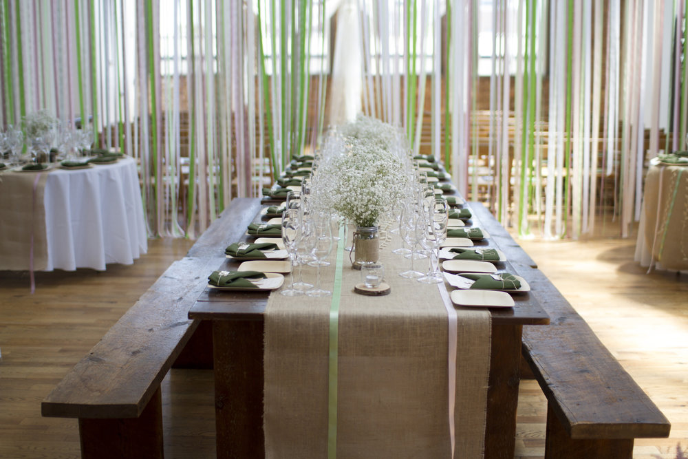 DIY Table Settings and Ribbon Curtain Divider