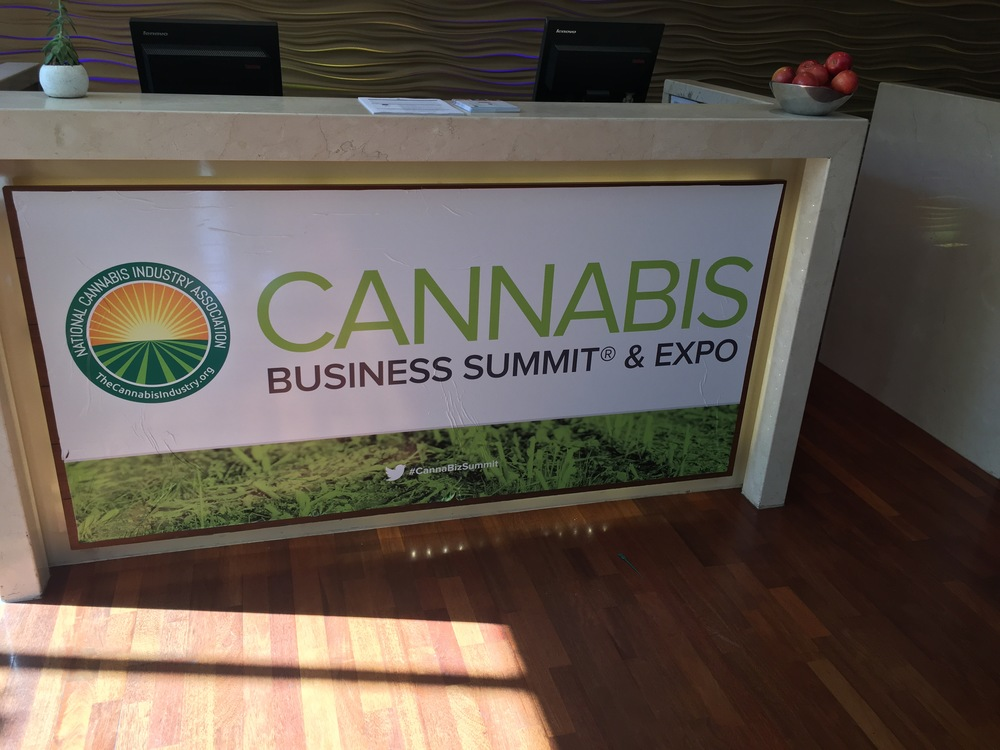 Everywhere one looked at the Marriott Oakland one was confronted with cannabis branding (including wrapping the outside of the hotel)
