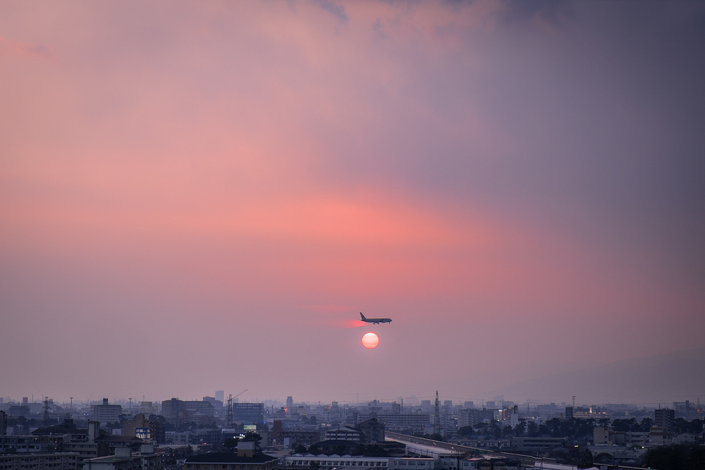 Sunset over Osaka.