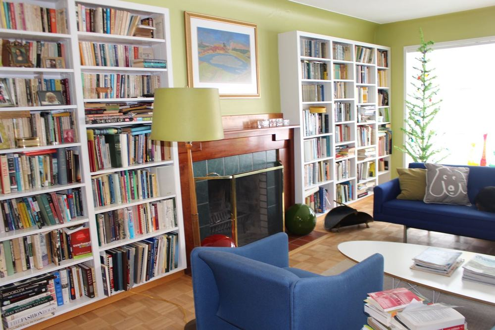 Living Room  Bookshelves and Fireplace