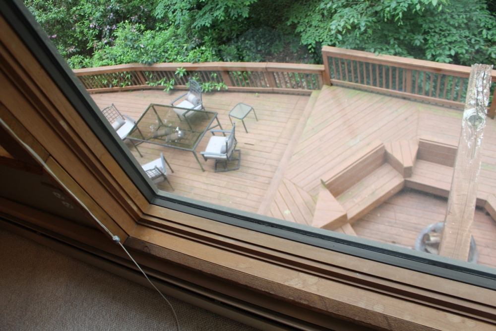 There are great views from every window.  Here a view from the full-length corner window of the deck below.