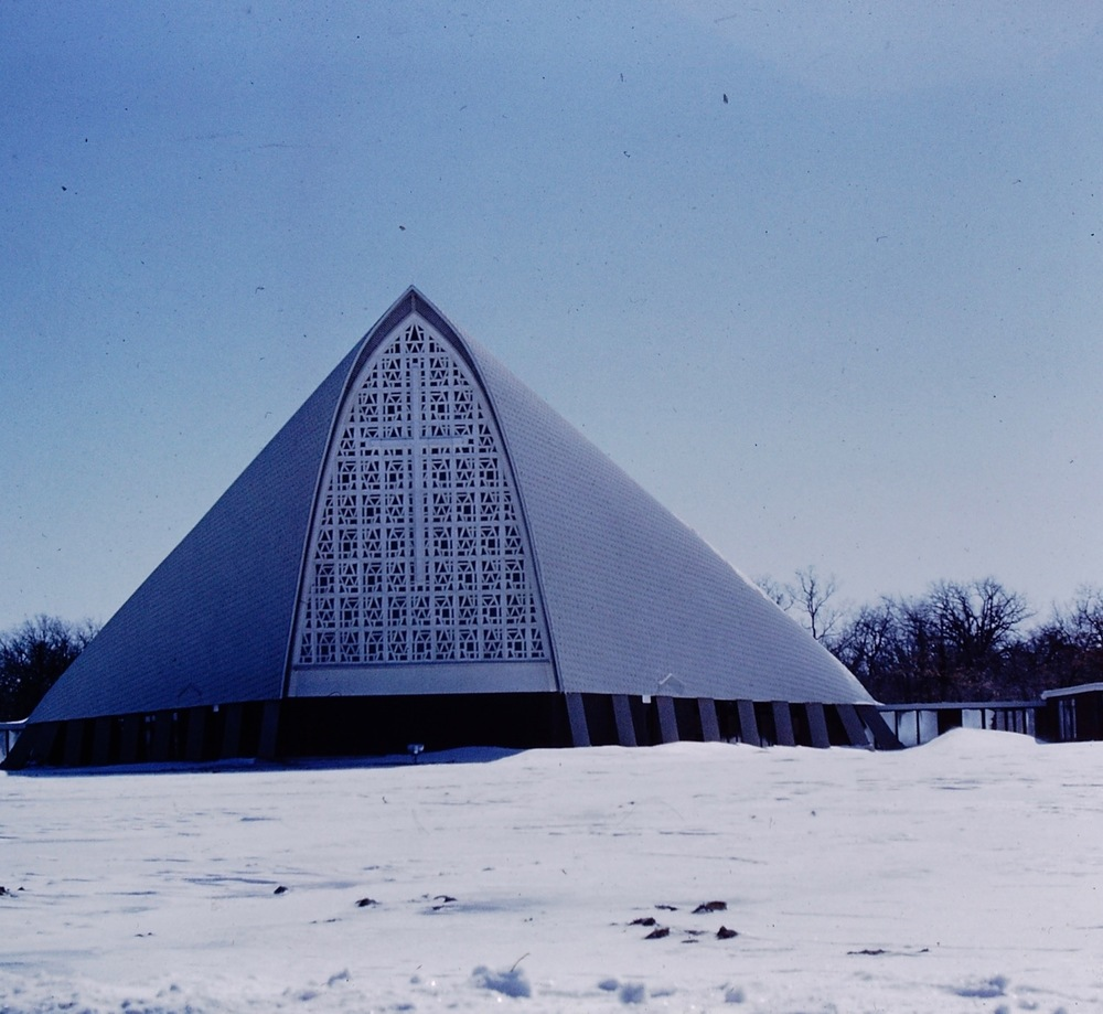 Stunning exterior of Christian Catholic Church, Zion, Illinois designed by Firant. Early slide photo from Firant family archive.