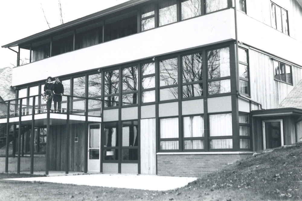 Dr. Swanson home in East Grand Rapids. Deck and balconies overlook Reeds Lake.  House designed by Firant in 1960.   Swanson family photo.