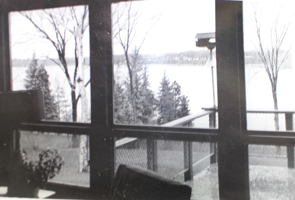 Looking from Dr. Swanson's House out at Reeds Lake.  Swanson family photo taken shortly after construction.