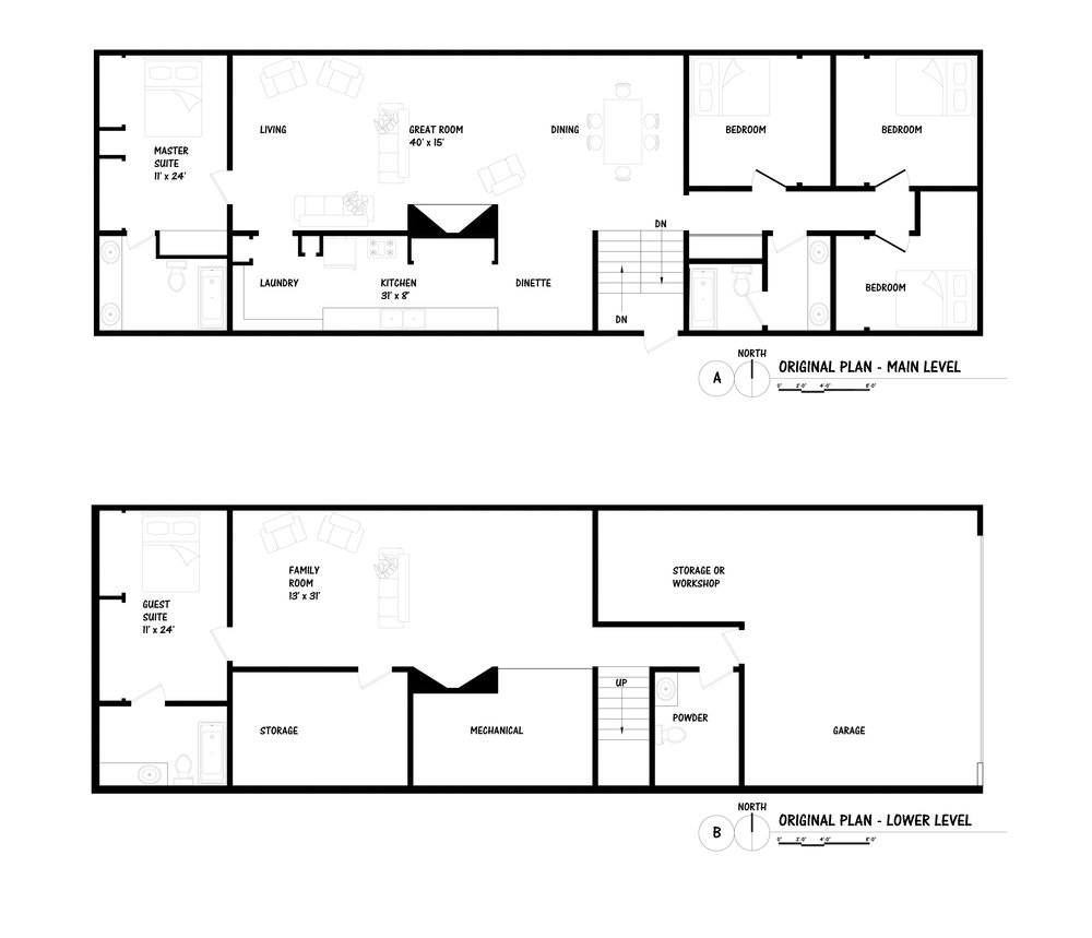 Above are the original building plans.  The master suite is separated from the other private spaces (3 bedrooms and a bath) by the large open living area.  On the lower walk-out level, a guest suite mimics the master suite upstairs and another large open living area faces the back yard. Provided by Alison McDonnell.