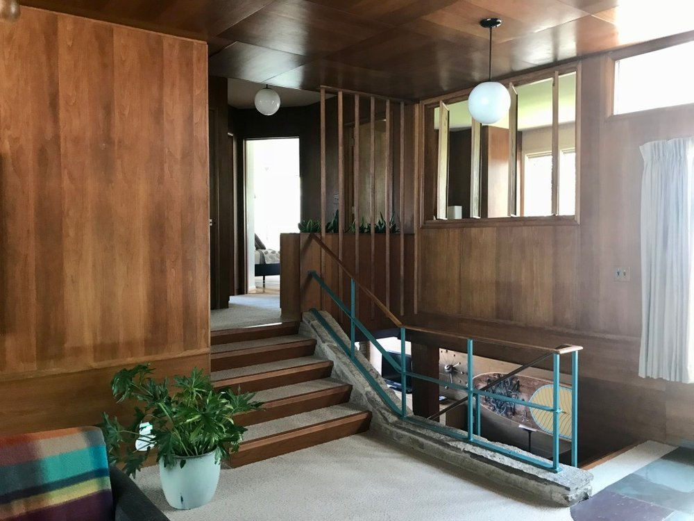 ANOTHER VIEW OF STAIRS AND ORIGINAL TURQUOISE METAL RAILING