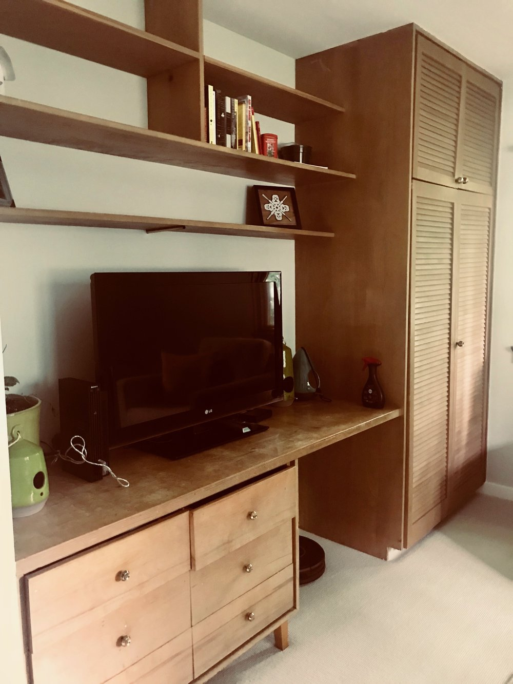 ORIGINAL BUILT-IN DESK, SHELVES AND WARDROBE