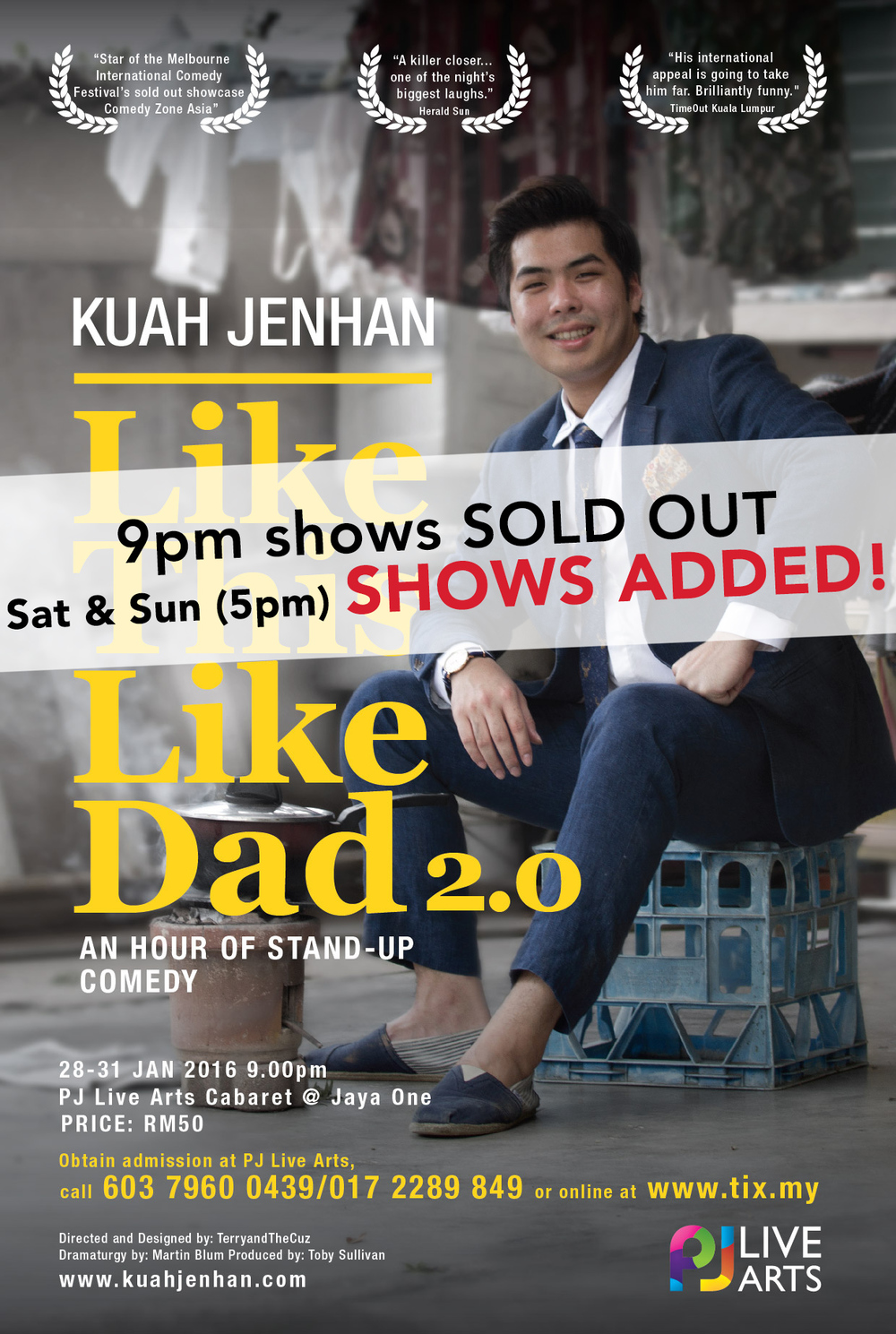 Comedy scene favourite* Kuah Jenhan comes back with 'Like This Like Dad 2.0', a one hour stand-up comedy show. Expect sentimental laugh-out-loud monologues inspired by nostalgia and lessons from the comedian's late father — be it good, bad or ridiculous. Maybe he is like this, because he is like Dad.  *maybe