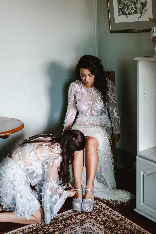 Well Travelled Bride Australian Wedding - Custom Sequin Wedding Dress