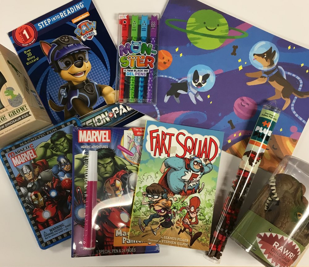For Boys: Dino Grow Egg ($9.99); I Can Read Books ($3.99);Monster Pens ($6.50) Doddle Pad ($3.99); Dino Hand Puppet ($9.99); Dinosaur Plus Plus ($6.00); Fart Squad ($4.99); Invisible Ink ($5.50); Marvel Magnetic ($10.99)
