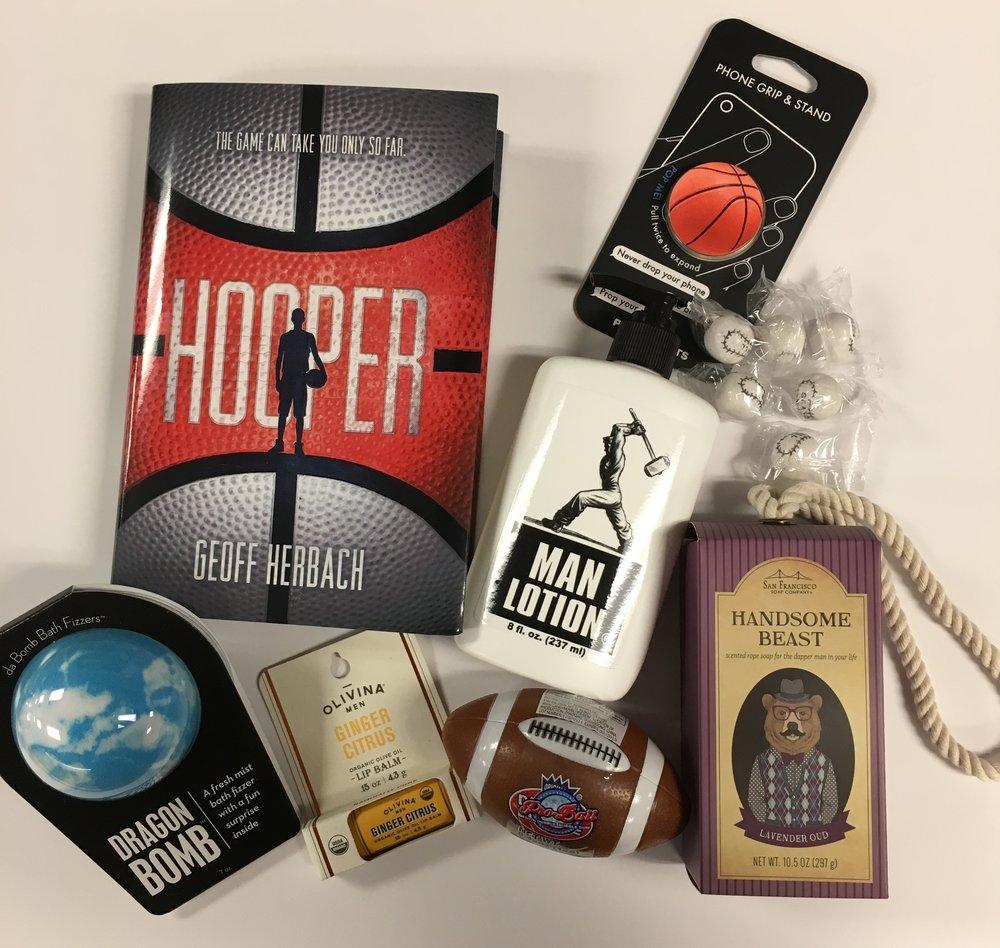 For boys: Hooper ($17.99); PopSockets ($9.99); Man Lotion ($9.99); Baseball Gum ($.10); Handsome Beast Soap on A Rope ($7.00); Football Gum ($1.50); Lip Balm ($4.50); Dragon Bomb ($7.00)